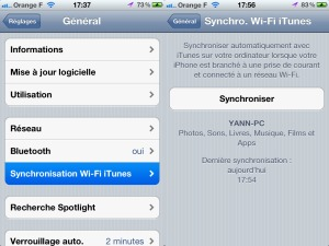 Tutoriel synchroniser son iPhone via wi-fi