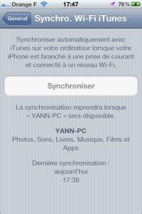 Tutoriel synchroniser son iPhone via wi-fi